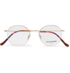 Cutler and Gross Round-Frame Brushed Gold-Tone and Tortoiseshell Acetate Optical Glasses