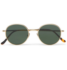 Cutler and Gross Round-Frame Brushed Gold-Tone and Tortoiseshell Acetate Sunglasses