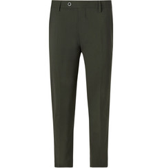 Mr P. - Dark-Green Slim-Fit Stretch-Wool Trousers