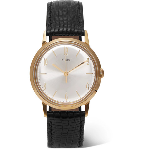 Marlin Hand Wound 34mm Gold Tone And Textured Leather Watch by Timex