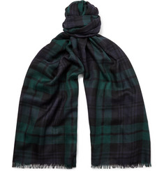 Johnstons of Elgin Fringed Black Watch Checked Cashmere Scarf