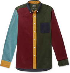 Beams Plus Button-Down Collar Colour-Block Cotton-Corduroy Shirt