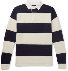 Beams Plus Cotton Poplin-Trimmed Striped Wool Sweater