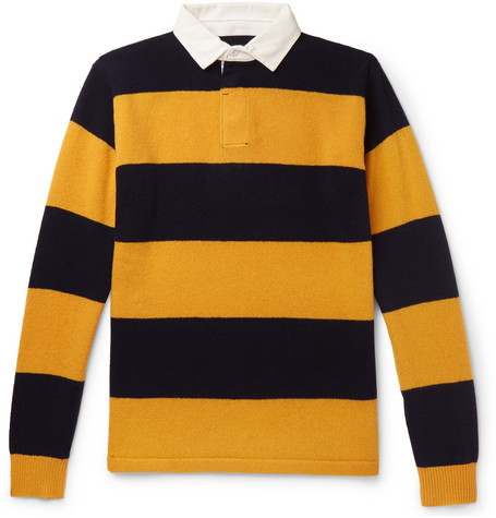 4230e037d2c878 Beams Cotton Poplin-Trimmed Striped Wool Sweater In Yellow ...
