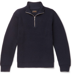 Beams Plus Half-Zip Ribbed Wool-Blend Sweater