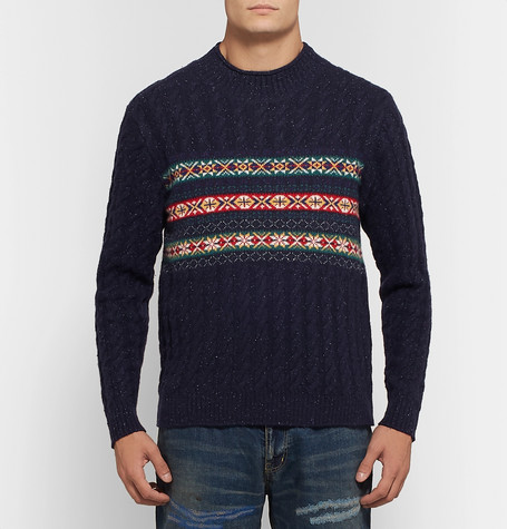 Cable Knit Fair Isle Wool Blend Sweater by Beams Plus