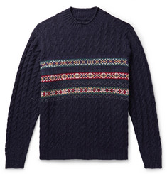 Beams Plus Cable-Knit Fair Isle Wool-Blend Sweater