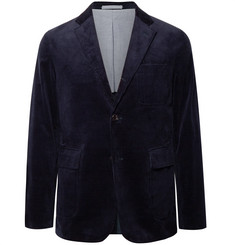 Beams Plus Navy Unstructured Stretch-Cotton Corduroy Blazer