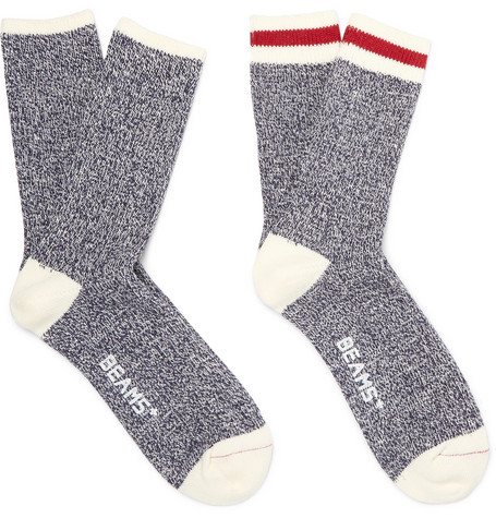 3ba698c22a two-pack-cotton-blend-socks by beams-plus