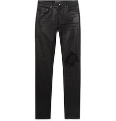 AMIRI Skinny-Fit Distressed Waxed Stretch-Denim Jeans
