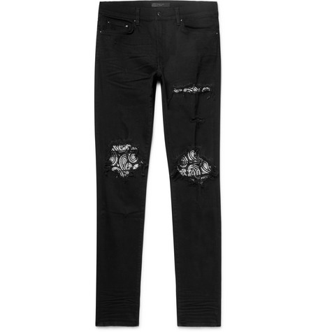 Skinny-fit Crystal-embellished Panelled Distressed Stretch-denim Jeans Amiri fpNLfJ