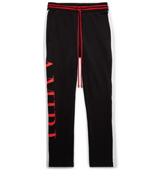AMIRI Slim-Fit Webbing-Trimmed Printed Fleece-Back Cotton-Jersey Sweatpants