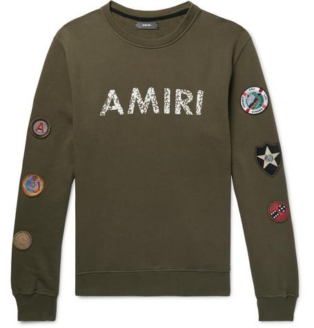Logo Print Appliquéd Fleece Back Cotton Jersey Sweatshirt by Amiri