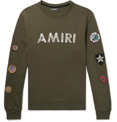 AMIRI Logo-Print Appliquéd Fleece-Back Cotton-Jersey Sweatshirt