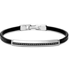 David Yurman Leather, Sterling Silver and Black Diamond Bracelet