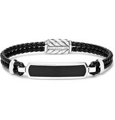 David Yurman Woven Leather, Sterling Silver and Onyx Bracelet
