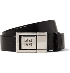 Givenchy 3cm Black Textured-Leather Belt