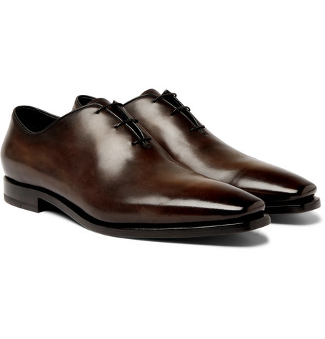 Alessandro Eclair Whole-cut Leather Oxford Shoes - Brown