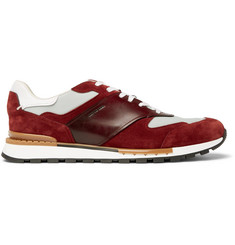 Berluti Run Track Leather, Suede and Nylon Sneakers