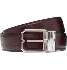 Berluti 3.2cm Scritto Reversible Leather Belt