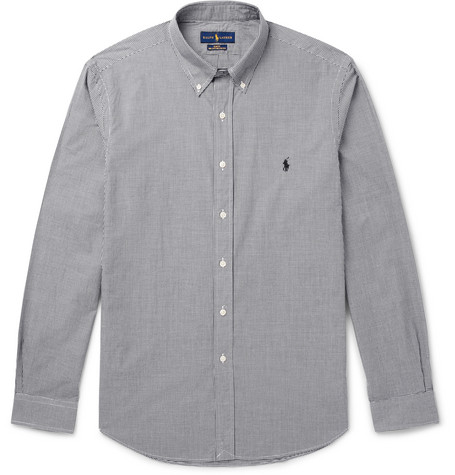 Slim Fit Button Down Collar Gingham Cotton Poplin Shirt by Polo Ralph Lauren