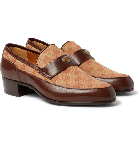 Printed Monogrammed Coated Canvas And Leather Loafers by Gucci