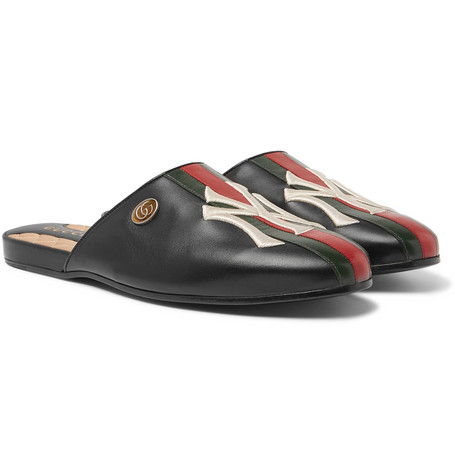 + New York Yankees Appliquéd Leather Backless Loafers by Gucci