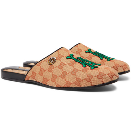 + Los Angeles Dodgers Flamel Appliquéd Monogrammed Canvas Backless Loafers by Gucci