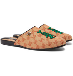 Gucci - + Los Angeles Dodgers Flamel Appliquéd Monogrammed Canvas Backless Loafers