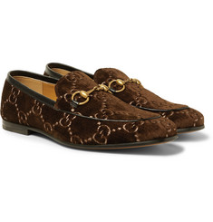 Gucci - Horsebit Leather-Trimmed Logo-Embroidered Velvet Loafers