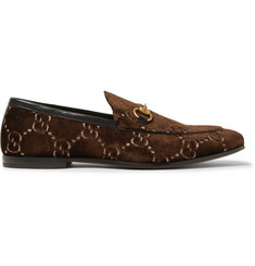 Gucci Horsebit Leather-Trimmed Logo-Embroidered Velvet Loafers