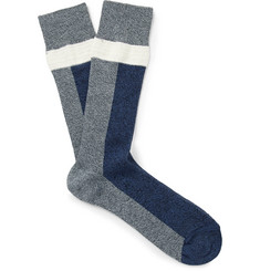 N/A - Colour-Block Stretch Cotton-Blend Socks