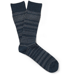 N/A - Jacquard-Knit Stretch Cotton-Blend Socks