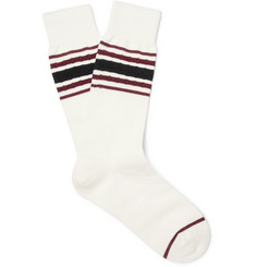 N/A - Striped Stretch Cotton-Blend Socks