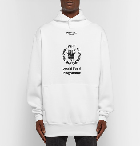 + The World Food Programme Oversized Logo Print Fleece Back Cotton Blend Jersey Hoodie by Balenciaga