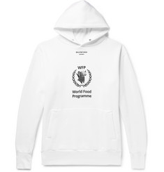 Balenciaga + The World Food Programme Oversized Logo-Print Fleece-Back Cotton-Blend Jersey Hoodie