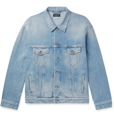 Balenciaga Oversized Logo-Appliquéd Distressed Denim Jacket