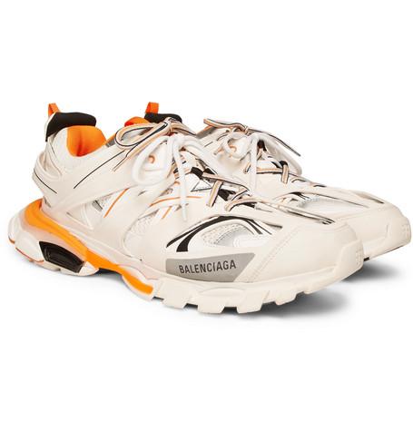 6795f6d285e6 Balenciaga Track White Leather And Mesh Trainers In 9059 Blanc  Orange