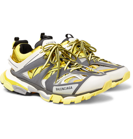 Balenciaga – Track Leather, Mesh And Rubber Sneakers – Yellow