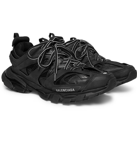 Track Mesh And Leather Sneakers by Balenciaga