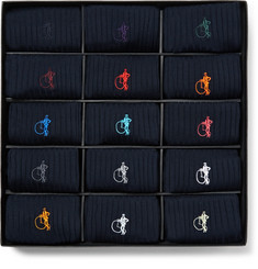 London Sock Co. - The Solid Sartorial 15-Pack Ribbed Stretch Cotton-Blend Socks