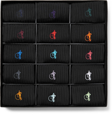 London Sock Co. The Simply Sartorial 15-Pack Ribbed Stretch Cotton-Blend Socks