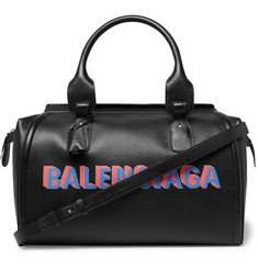 Balenciaga Logo-Print Full-Grain Leather Holdall