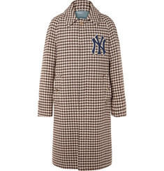 Gucci + New York Yankees Appliquéd Houndstooth Wool-Blend Coat