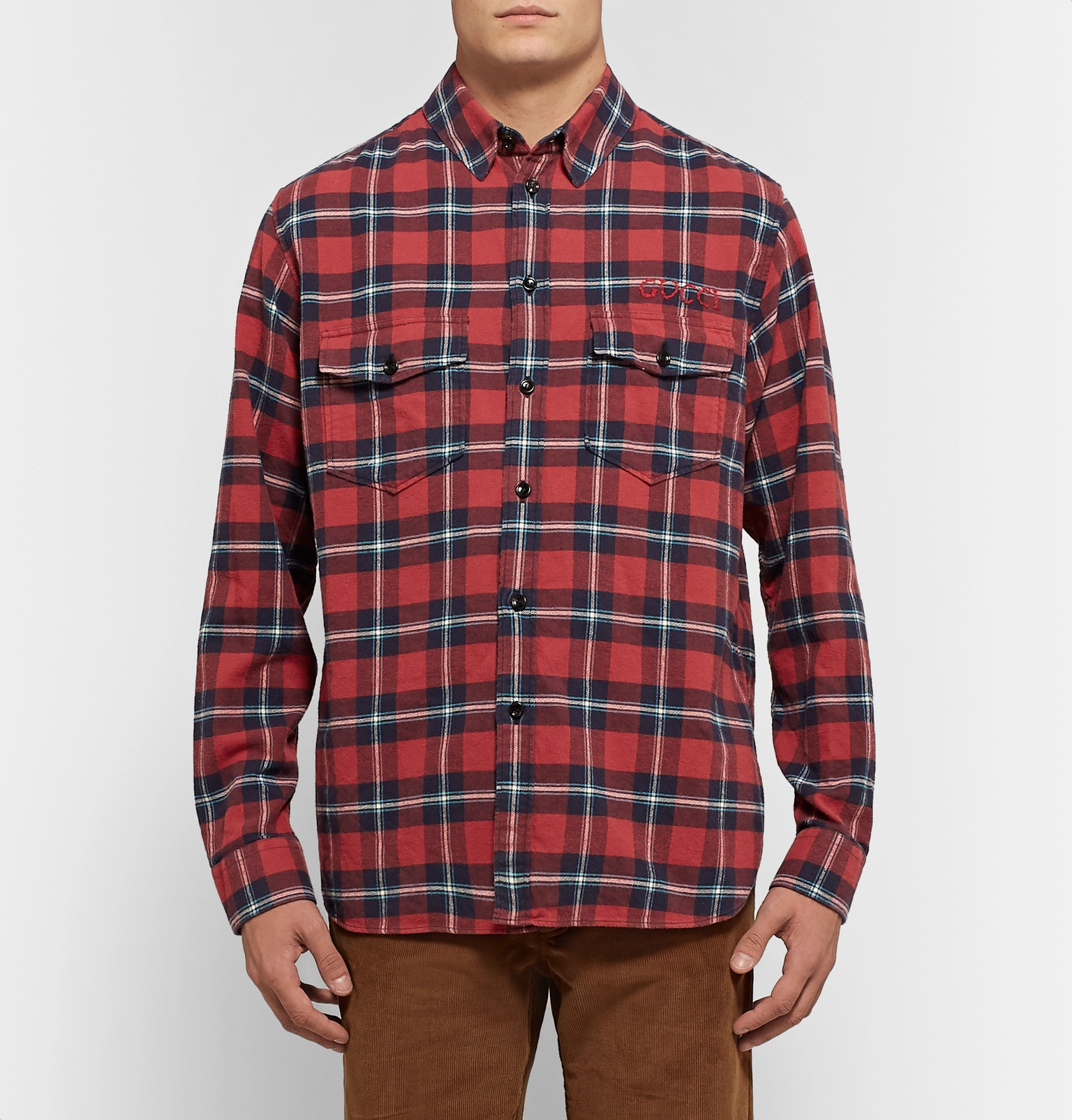 a466a93b2 Gucci - Oversized Embroidered Checked Cotton-Flannel Shirt
