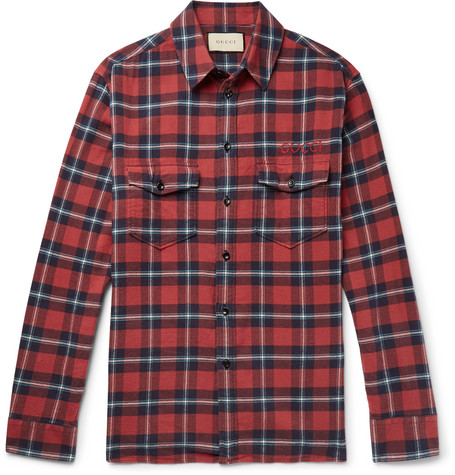 6dee137c1 Gucci - Oversized Embroidered Checked Cotton-Flannel Shirt