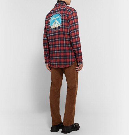 cf4cb61c Gucci - Oversized Embroidered Checked Cotton-Flannel Shirt