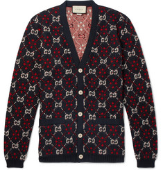 Gucci Logo-Jacquard Alpaca and Wool-Blend Cardigan