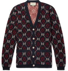 구찌 로고 알파카 & 울 남성 가디건 블랙 Gucci Logo-Jacquard Alpaca and Wool-Blend Cardigan,Black
