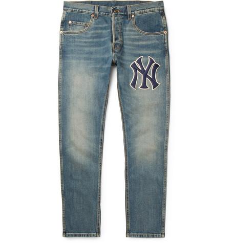 + New York Yankees Tapered Appliquéd Washed Stretch-denim Jeans